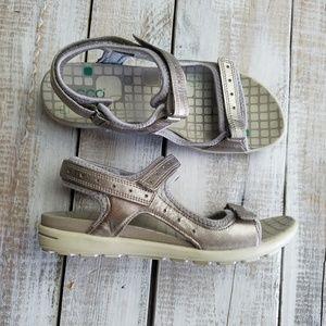 Ecco sandals women size 38 leather fabric EUC grey